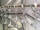 Crystal Glass Set of 6 Martini Champagne 6 oz Platinum Gold Rimmed Russian Cut