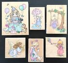 6 Vintage Stampendous Precious Moments Rubber Stamp Lot 1990s Wood Block