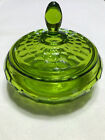 Green Glass Candy Dish with lid retro