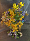 22 VINTAGE FRENCH GLASS BEADED FLOWER SPIDER MUM, Pansy, Daffodil, Bouquets more