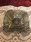 VINTAGE SMOKE CARNIVAL INDIANA SQUARE GLASS DISH DIAMOND POINT WITH CRIMPED EDGE