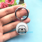 Geometric Sloth Art Photo Tibet Silver Key Ring Glass Cabochon Keychains 466