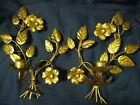 VINTAGE CANDLE HOLDER WALL SCONCES ITALIAN GOLD GILT TOLE LEAVES FLOWER - PAIR