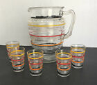 Hocking Ring Pattern Pitcher and 5 Juice Glasses Colored Bands 1927-1933