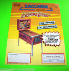 PINBALL CHAMP + SOCCER KINGS By ZACCARIA 1983 ORIGINAL PINBALL MACHINE FLYER