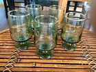 Set of 5 Vintage Clear Green Footed Juice Glasses