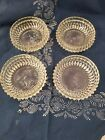 SET OF FOUR (4) INDIANA GLASS DIAMOND POINT SALAD BERRY BOWLS 34