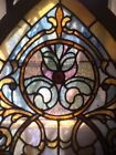 ANTIQUE STAINED GLASS ARCH TOP JEWELED WINDOW OUTSTANDING CONDITION