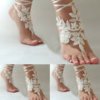 White Ivory Wedding Anklet Lace Beach Foot Chain Barefoot Sandals Bridal Jewelry