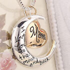 Rose Gold Heart  Moon Pendant Necklace Silver Chain Jewelry Christmas Mom Gift