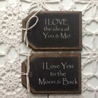 *NEW* 5 Wooden Valentine's Day Ornaments/HangTags/GiftTags LOVE SAYINGS Set-1C