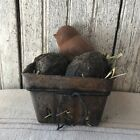 Primitive Easter Basket Beeswax Chick Eggs Spring Farm House