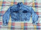 Vintage Womens Denim Jeans Jacket Blue Indigo Size M Revenge Indian Motorcycle