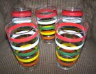 SET OF 5 VINTAGE STRIPED DRINKING GLASSES TUMBLERS MULTI-COLORED