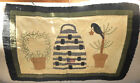 AMERICANA PRIMITIVE QUILT TABLE SCARF RUNNER WALL HANGING BEE SKEP TREES