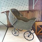 Antique Vintage Wicker Toy Doll Baby Buggy From Old-Time Farm Auction  -e