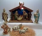 Vintage Musical Lighted Stable Creche  Nativity Set Christmas Made in Japan