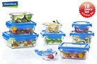 Glasslock Food Storage Glass Container 18pc Set Blue Lid Microwave