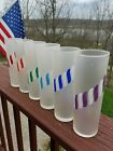 6 LIBBEY MID CENTURY CANDY STRIPED FROSTED GLASSES TOM COLLINS~7 in.