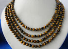 AA 4Row 8mm Natural Yewelry Tiger's-eye Gems Round Beads Necklaces 17-20""