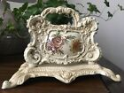 Vintage Shabby Chic Desktop Cast Iron Letter Mail Holder With Flower Motive