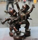 Chinese red Bronze Copper Beat a Drum Dance Happy Blessing Boy And Girl Statue