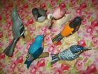 6 VINTAGE HAND CARVED WOODEN LIFE LIKE BIRDS SET ON NATURAL YELLOW STONE