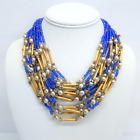 Vintage Miriam Haskell Gold Tone Multi Strand Necklace w Glass, Lucite