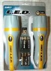 DORCY LED 2 FLASHLIGHTS GRAY YELLOW 3 OPTICS 30 HOUR RUN LIFE STORM AAA BATTERY