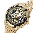 GuTe Classic X Dial Skeleton Automatic Mechanical Wrist Watch Gold Black
