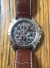 Pulsar YM92-X164 Chronograph Men's  Stainless Steel Sport Watch Leather Band