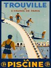Trouville The Swimming Pool Paris France Vintage Travel Advertisement Poster