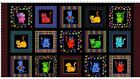 Loralie Cool Cats Panel Black Fabric Cotton Quilting 24x44 Loralie Designs