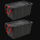 Heavy Duty Plastic Tote Storage Rolling Plastic Bin With Lid Large 2 Pack