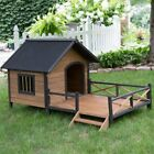 Dog House Pet Wood Outdoor Shelter Kennel Large Weather Home Porch Resistant New