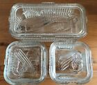 Set of 3 Vintage Federal Clear Glass Ribbed Storage Containers With Lids