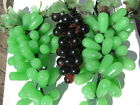 VTG.3 TRANSLUCENT ELONGATED JADE APPLE GREEN GLASS ROUND PURPLE GRAPE CLUSTERS