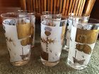 Set of 6 Vintage Frosted Gold Butterfly Glasses