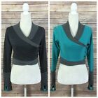 MOXIE Cycling Womens Small Reversible Jacket Gray Aqua Wool L S Wrap Top NEW 95