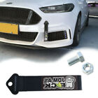 Front Rear Bumper Racing JDM AS Decal Tow Strap Towing Hook Black