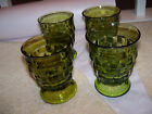 Four Vintage Green Indiana Glass Whitehall Cubist Footed 4 3/8