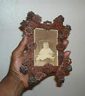 ANTIQUE FOLK ART WALNUT WOOD PICTURE FRAME WITH BABY REAL WALNUTS