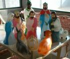 Nativity Blow Mold Set Of 9 VTG Med size Empire 3 WisemenMaryJoseph ect