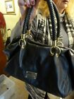 LADIES BLACK LEATHER DESIGNER 2 HANDLED BAG BY KENNETH COLE 15 X 10 INCHES