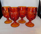 4 LE SMITH MOON AND STAR AMBERINA WATER GOBLETS - Very nice!