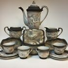 Vintage Japanese Black gold Dragonware Tea pot set for 4 15pcs Moriage Ornate