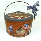 RustyTin Lunch Pail  Hand Painted Americana Patriotic Uncle Sam LARGE  RJPE