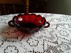 Ruby Red Glass Dish Scalloped Edge Double Handles Anchor Hocking Excellent