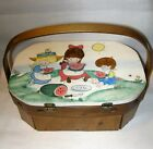 VINTAGE PURSE HAND BAG 1970's - Wooden Box - Hand Painted - 8 Sided - Signed