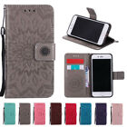 Embossed Stand Wallet Card Slot PU Leather Flip Case Cover For Samsung Galaxy